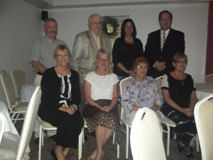 Board members in attendance at the dinner were: seated; Linda Gable, who was recognized for completing her third 3 year term; Lynn Hutchings, incoming President; Louise Krafjack, Life Member; and Marilyn Vitali, Secretary. Standing; Robert Jones, Jr., Tony Cardell, Life Member; Barbara Partyka, Vice-President; and Mark Bennett, outgoing President.
