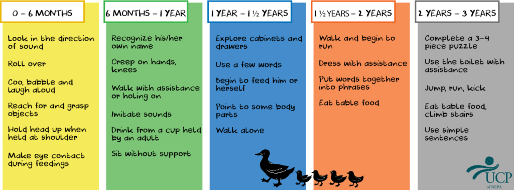 Milestones for children from birth to the age of three years.