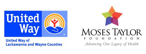 Funders for Lekotek Programs: United Way of Lackawanna & Wayne Counties, Moses Taylor Foundation logos.